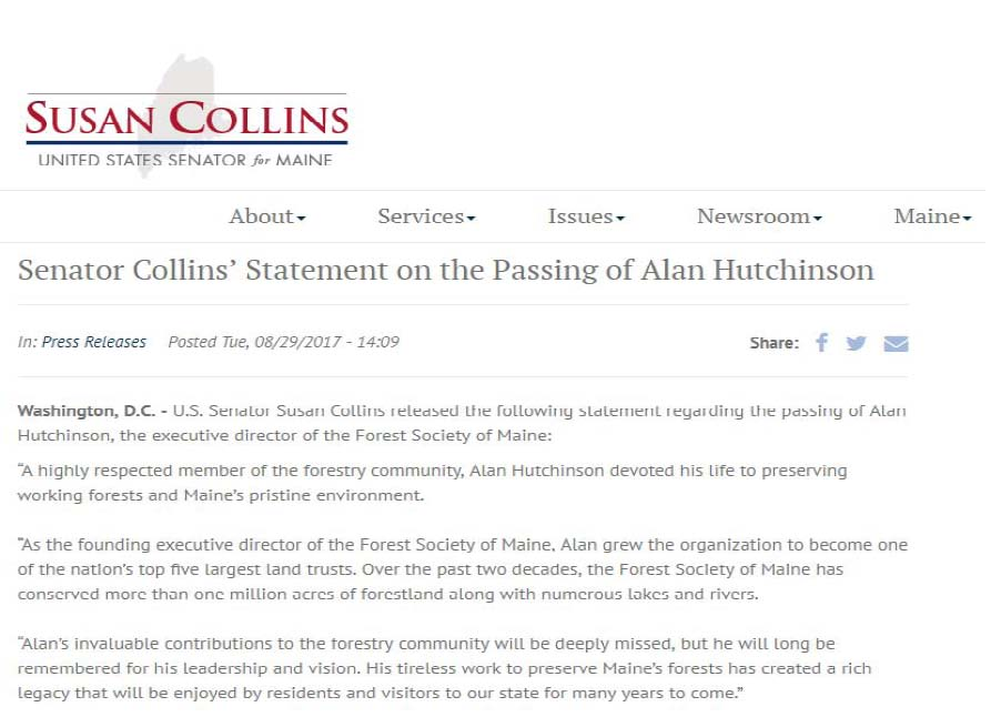 Senator Susan Collins' statement about Alan's contributions to conservation and the state of Maine