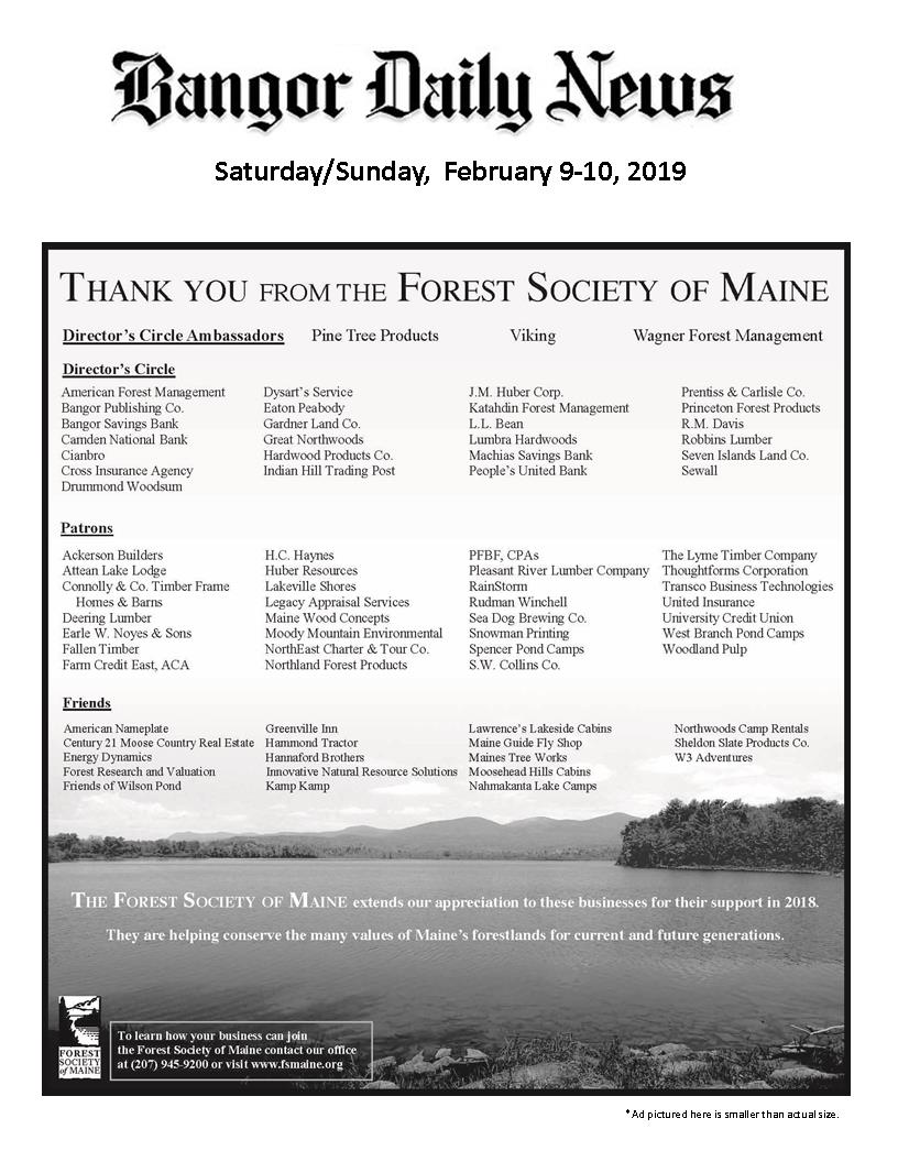 Thank you to FSM Business Supporters as seen in the Bangor Daily News, February 2019.