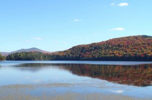 Looking south across Arnold Pond at Coburn Gore Forest in western Maine, near the Quebec border.