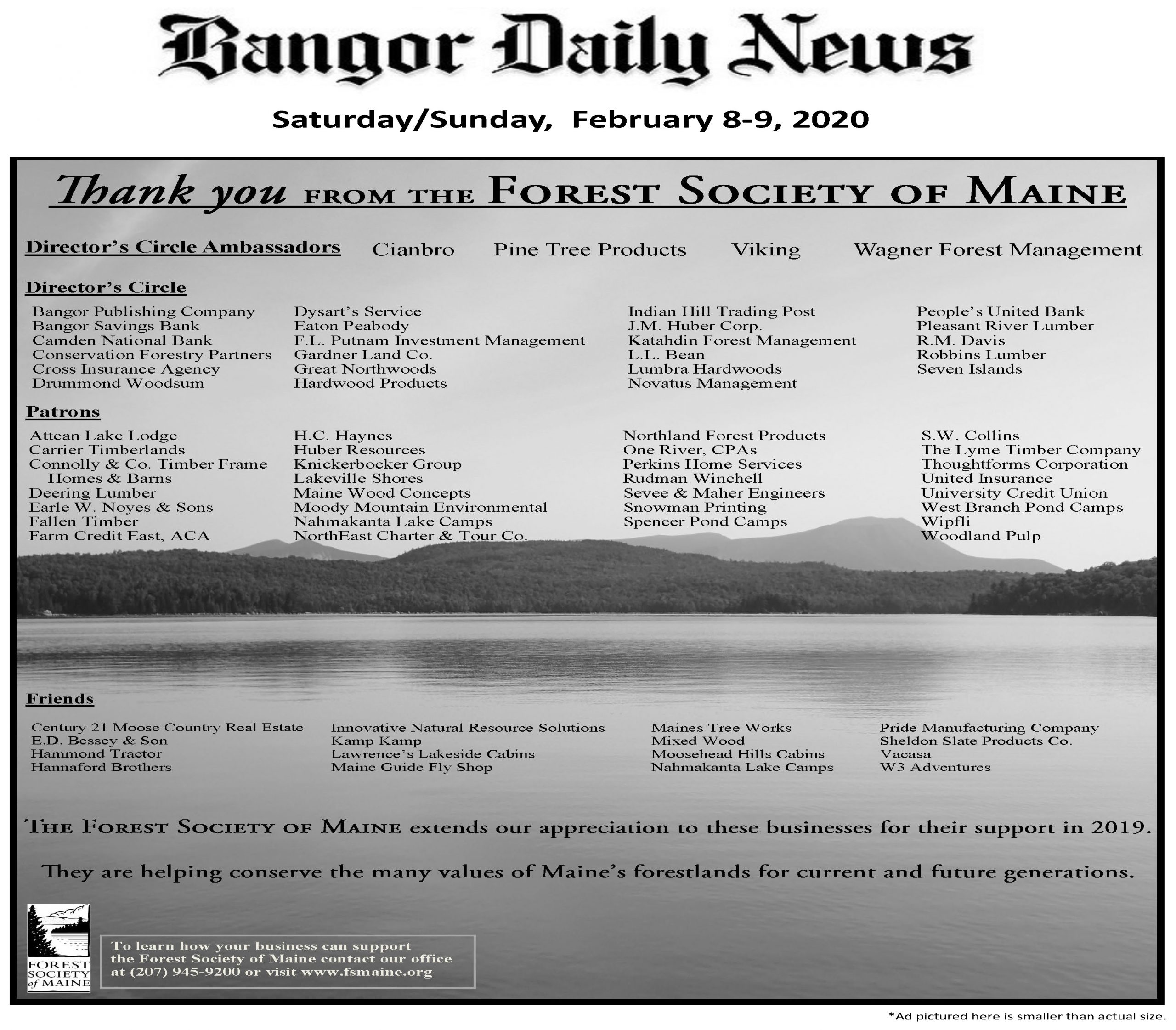 Picture of ad thanking FSM business supporters that appeared in the 2020 Bangor Daily News