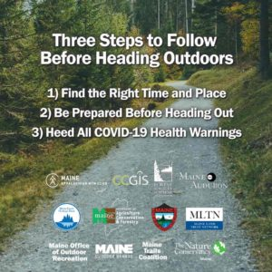 Graphic showing the three steps to take before heading outdoors to keep yourself and others safe from COVID-19
